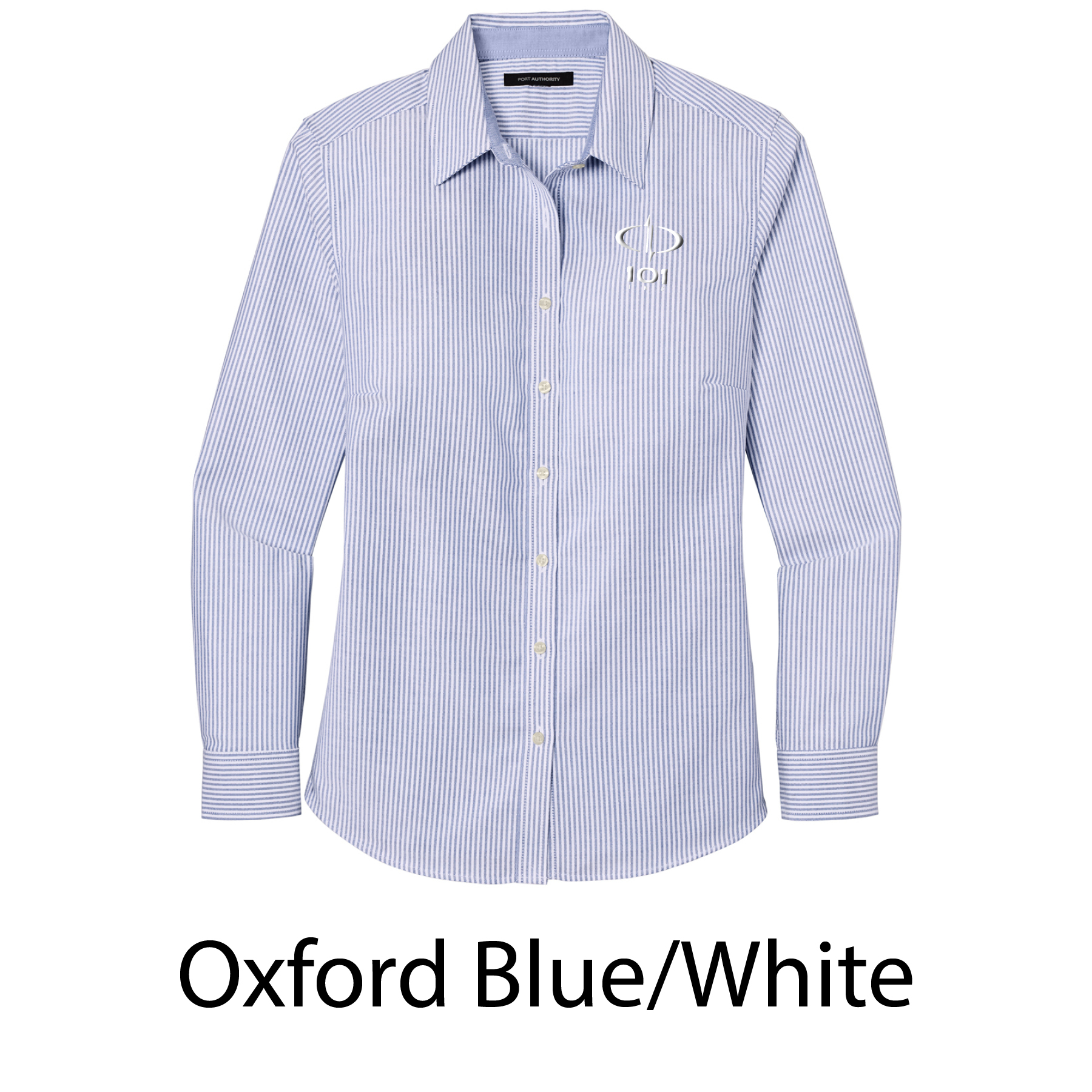 Port Authority® Ladies SuperPro™ Oxford Stripe Shirt - Embroidered